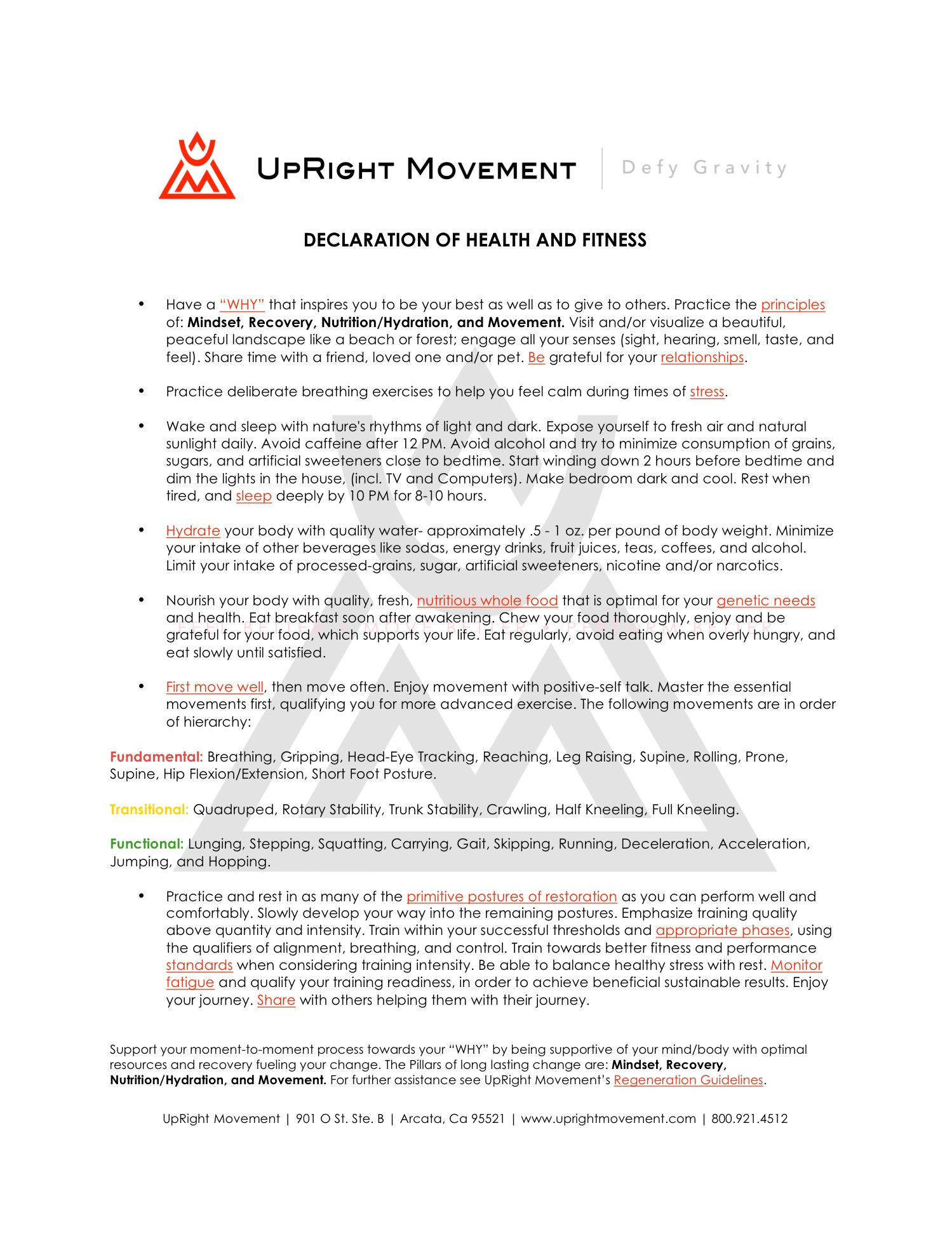 UpRight Movement Declaration Of Health And Fitness